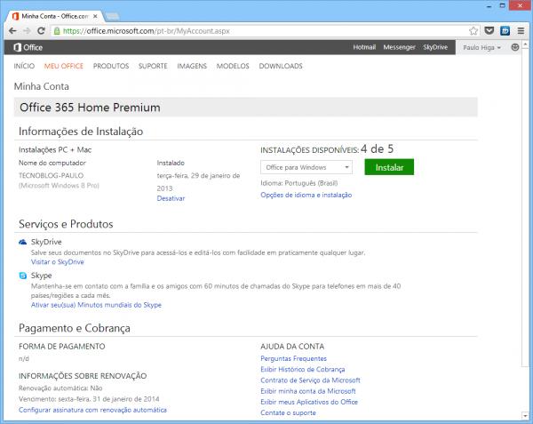 Office 365 Home pode ser instalado em 5 PCs; Office 365 Personal é individual