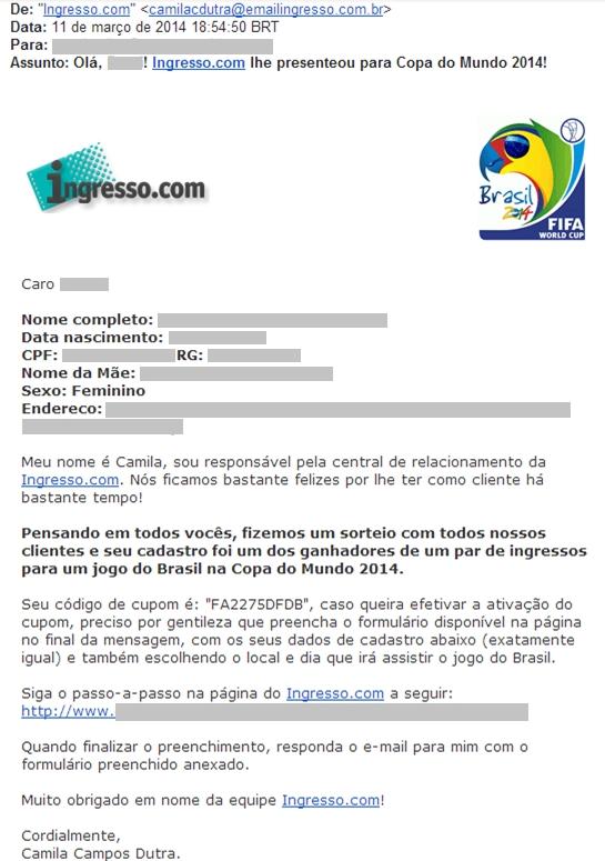 E-mail falso - Ingresso.com