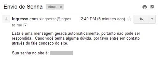 """E-mail da opção """"lembrar senha"""""""