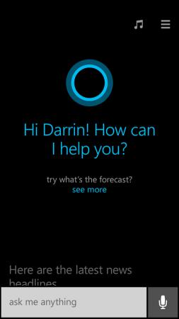 Cortana aceita comandos de voz e texto