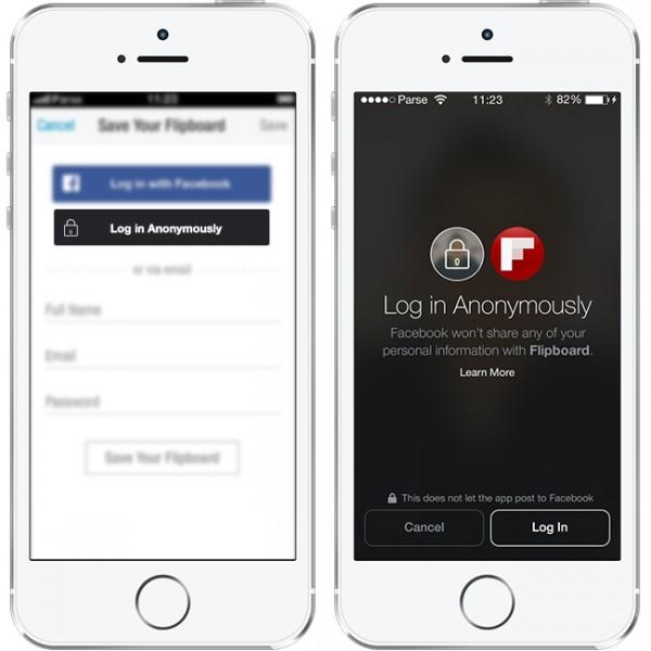 Login anônimo no app do Flipboard