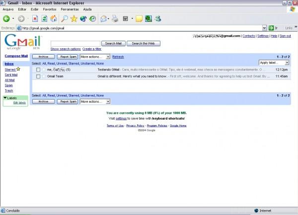 Primeira interface do Gmail