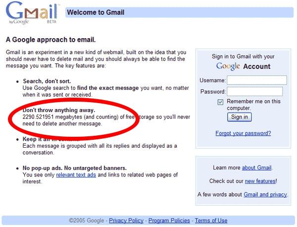 Contador na página de login do Gmail