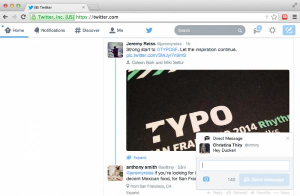 Notificações na versão web do Twitter