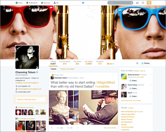 Nova interface do Twitter
