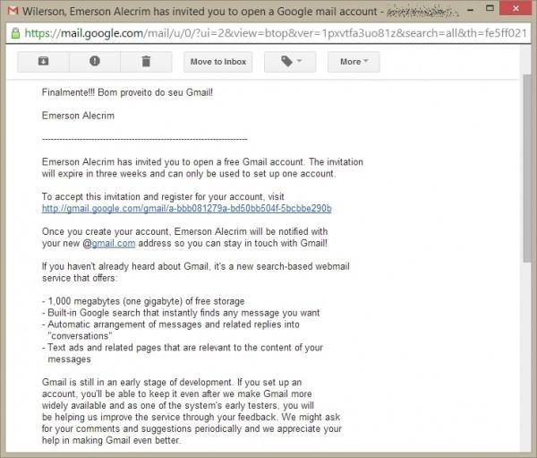 Convite do Gmail - na época, a única opção de idioma era o inglês