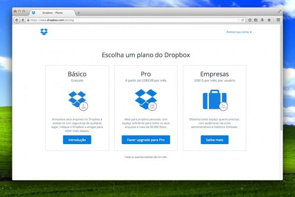 Dropbox Pro começa em US$ 99 anuais por 100 GB; por um pouco mais, você contrata 1 TB no Google Drive