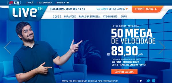 Melhor plano da Live TIM para clientes residenciais custa R$ 89,90 por mês, com 50 Mb/s de download e 30 Mb/s de upload