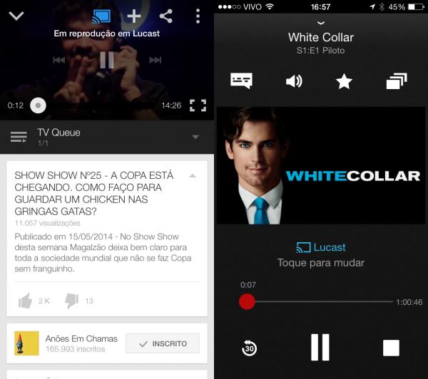 YouTube e Netflix sendo reproduzidos no Chromecast. Não ao mesmo tempo, claro.