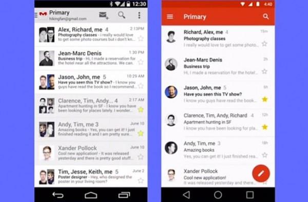 À direita, como ficará o app do Gmail com o Material Design
