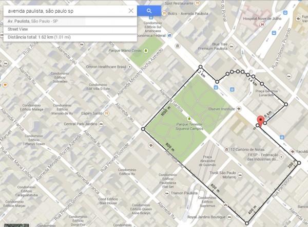 Medindo distâncias no Google Maps