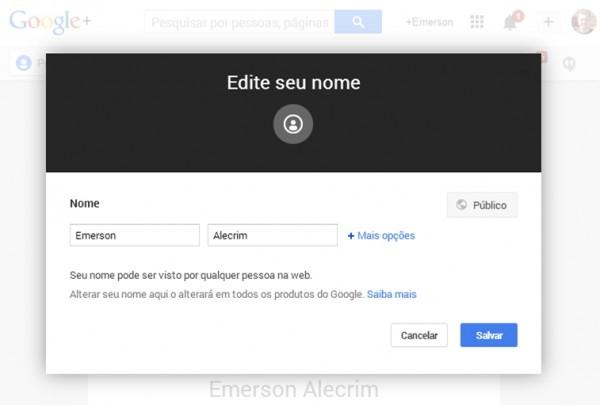 Edição de nome no Google+