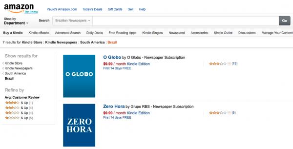Você pode assinar O Globo e Zero Hora na Amazon (mas não no Brasil)