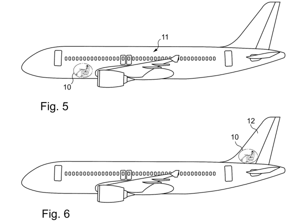 Sim, a patente também descreve a possibilidade de o cockpit ficar na região da cauda (!!!)