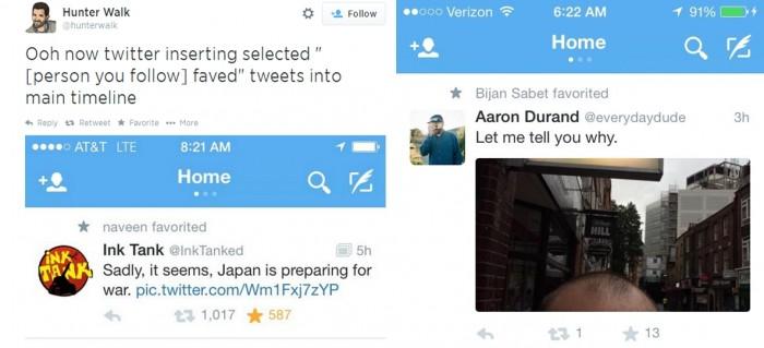 Exemplos de tweets favoritos mostrados como retweets