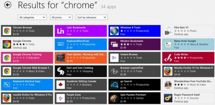 """Até pouco tempo atrás, uma busca por """"Chrome"""" retornava uma série de apps suspeitos"""