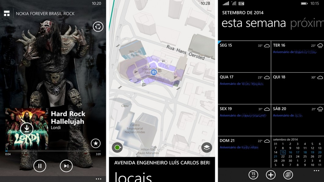 MixRadio, HERE Maps e agenda