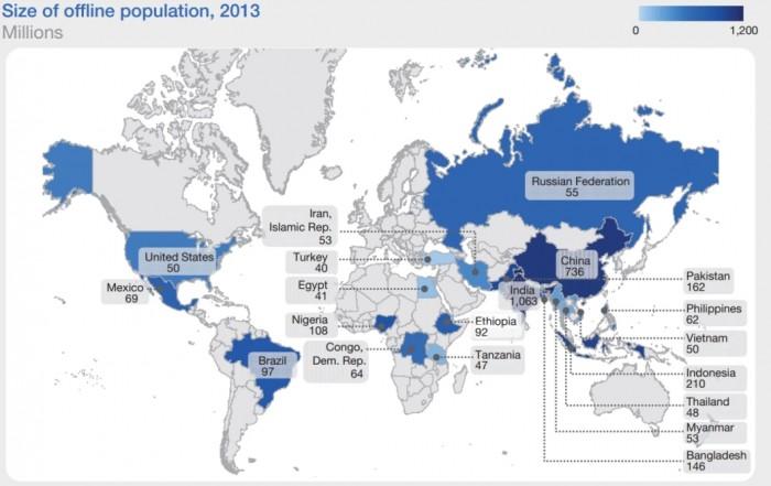 """Mapa do """"não acesso"""" à internet"""