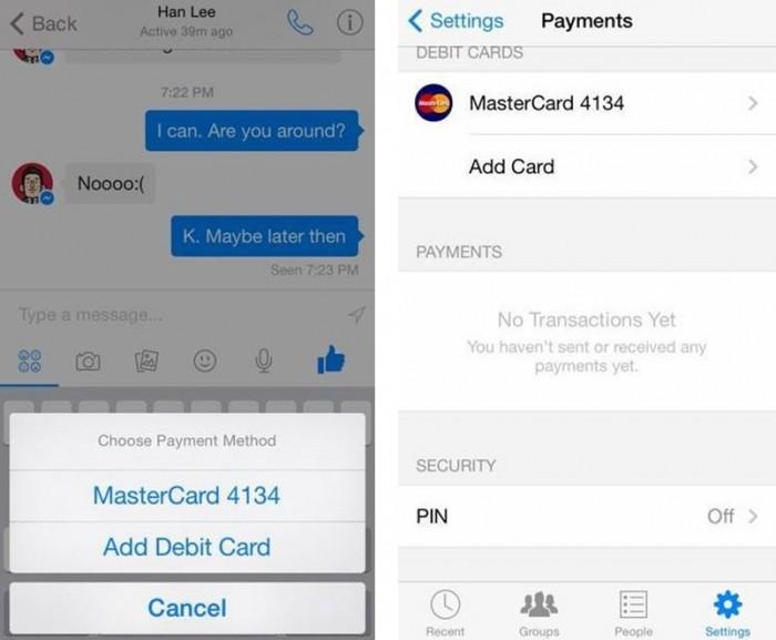 As supostas capturas que indicam suporte a pagamentos no Facebook Messenger
