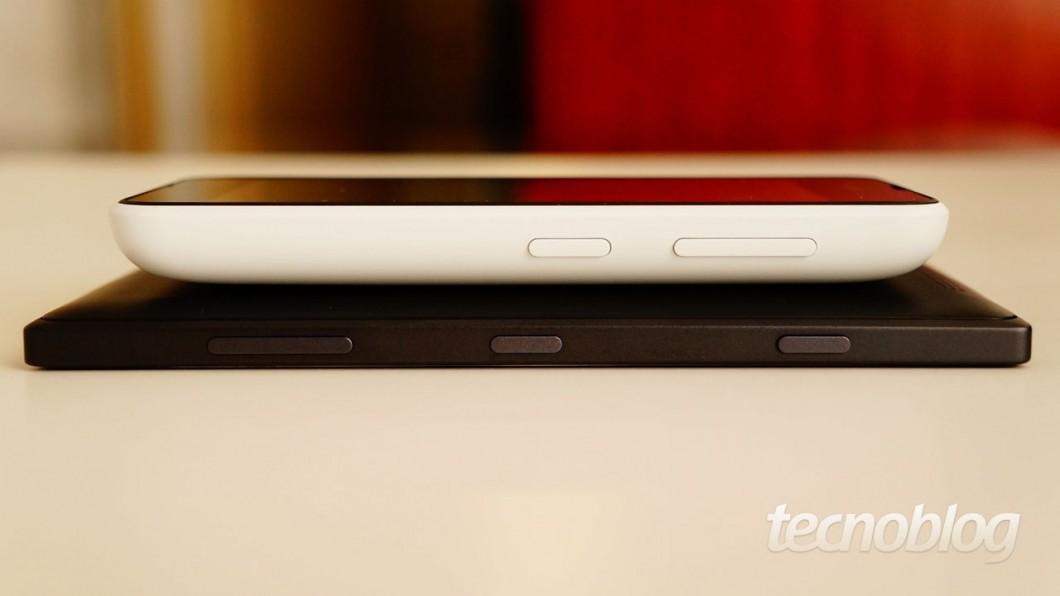 Diferença de tamanho entre um Lumia 530 e um Lumia 830 (8,5 mm)
