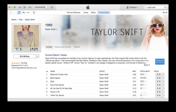 1989 continua no iTunes