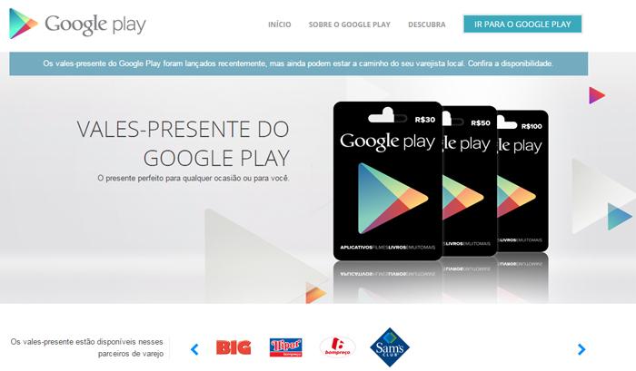 Google Play libera vales-presente no Brasil - Tecnoblog