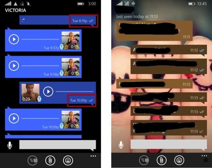 Tiques azuis no WhatsApp para Windows Phone