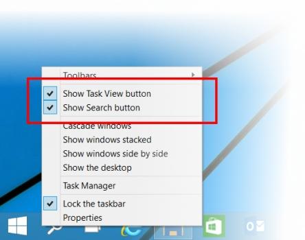 Windows 10 - configurações da Barra de Tarefas
