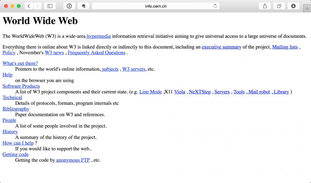 A primeira página da web era assim, meio sem graça