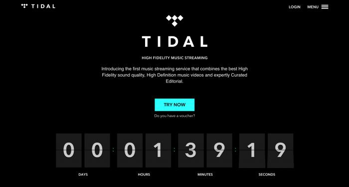 Site do Tidal apresenta somente contagem regressiva