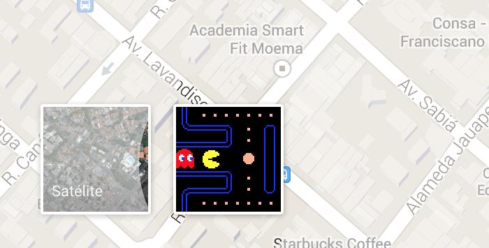 Botão que habilita modo Pac-Man nos mapas do Google