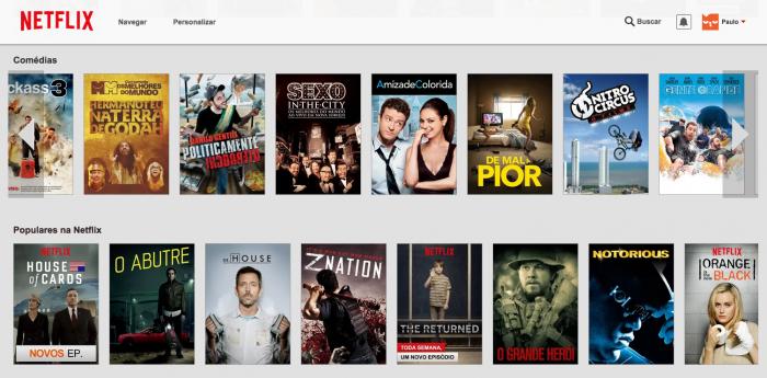 A página inicial da Netflix é assim