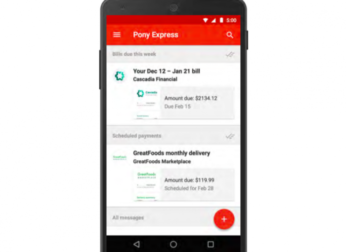 Inbox exibe informações sobre conta que chegou por email (reprodução do Re/code)