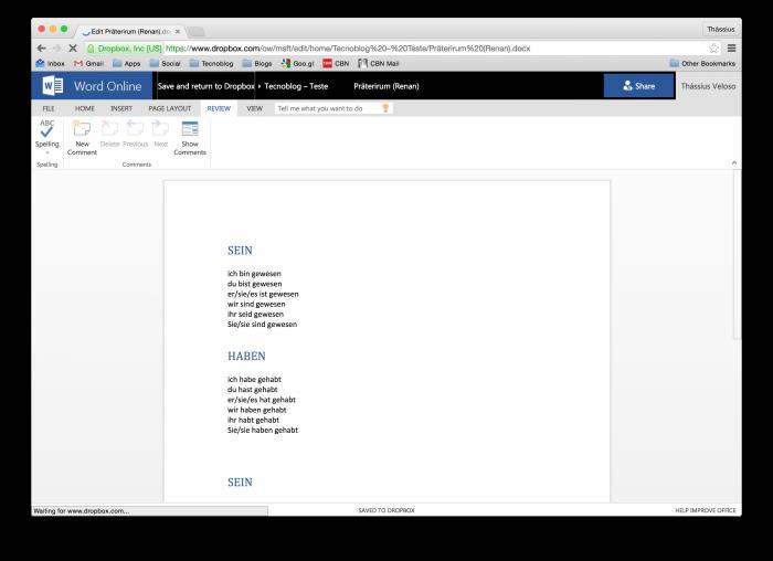 Opção de salvar e retornar ao Dropbox fica no topo da tela