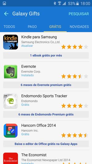 Galaxy Gifts: apps oferecidos de graça pela Samsung (Imagem: reprodução)