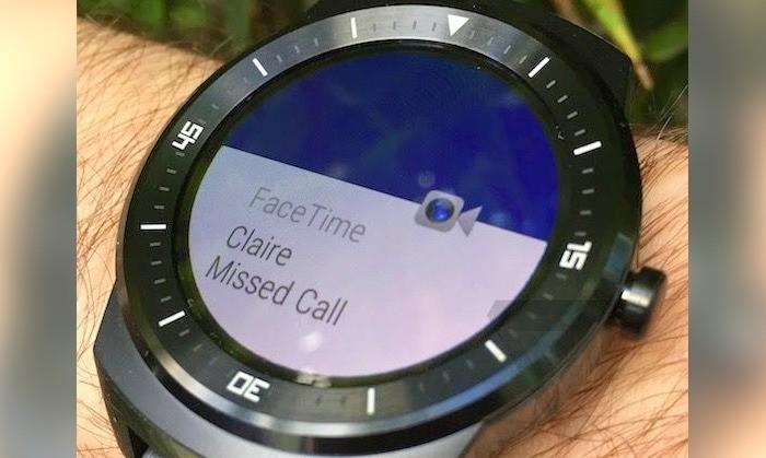 FaceTime em um LG G Watch R (foto: The Verge)