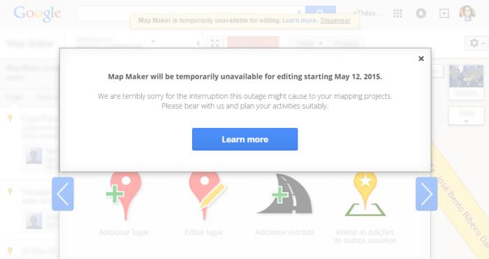 Map Maker do Google está fechado por tempo indeterminado (Imagem: reprodução)