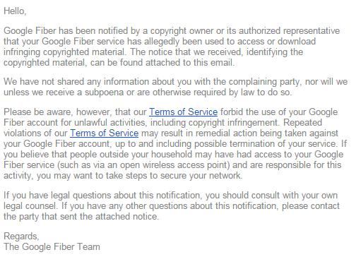 Parte do email enviado pelo Google Fiber aos pirateiros