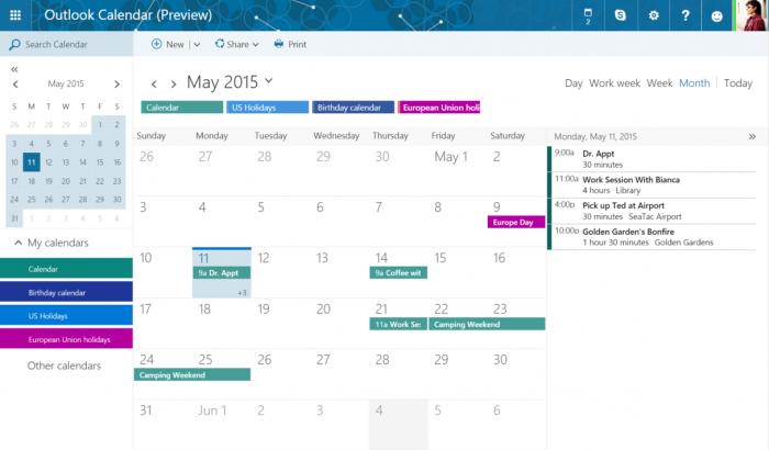 Outlook.com também ganhará integração com novo calendário