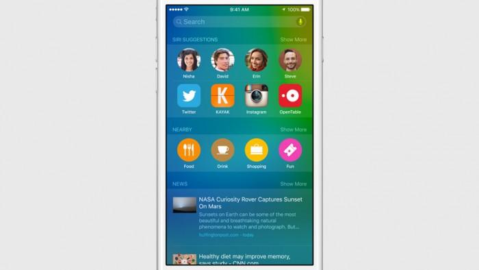 Spotlight mais inteligente: encontra notícias, locais, apps e pessoas com base no Proactive
