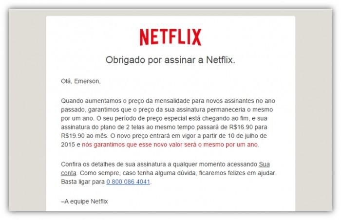 Netflix - aumento