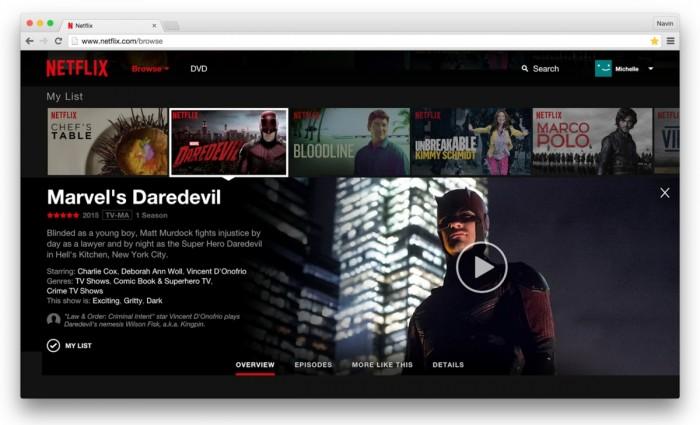 Netflix - nova interface