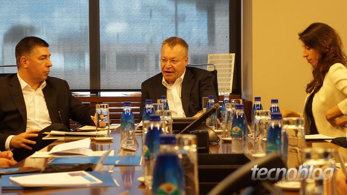 Stephen Elop, durante encontro com a imprensa em São Paulo. Isso foi no lançamento dos Lumias 640 e 640 XL no Brasil, em março.