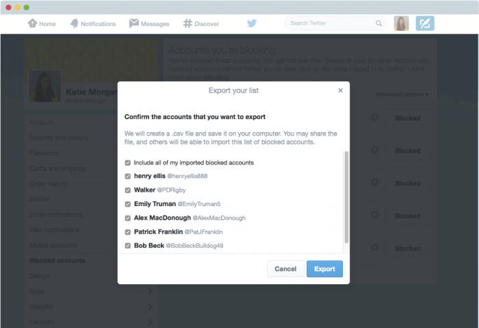 Lista de bloqueio - Twitter