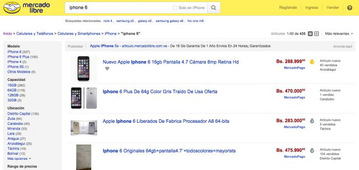 iPhone 6 de 64 GB chega ao equivalente a R$ 232 mil e tem 104 compradores no MercadoLivre venezuelano