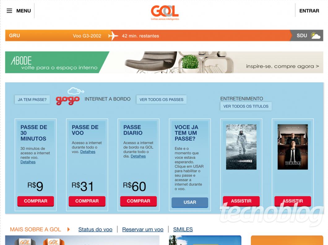 Tela de acesso da Gogo (os preços não são reais)