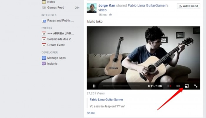 Facebook - vídeos flutuantes