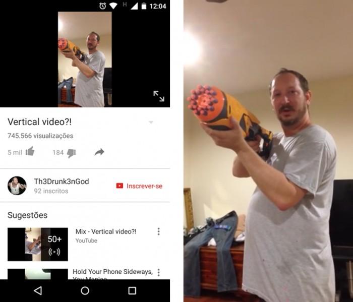 YouTube - vídeos verticais