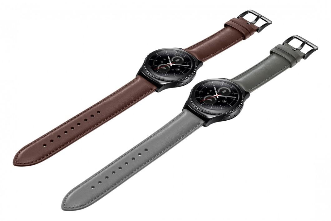 Gear S2 classic, um modelo mais caro e mais robusto. Tem a cara de um relógio comum, basicamente.