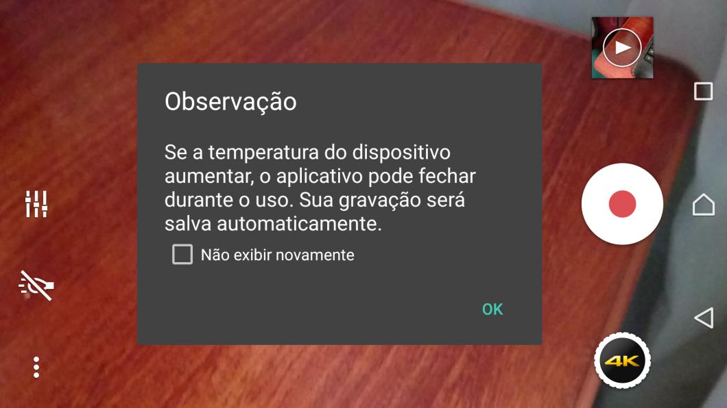 Xperia Z5 - aviso sobre risco de aquecimento excessivo